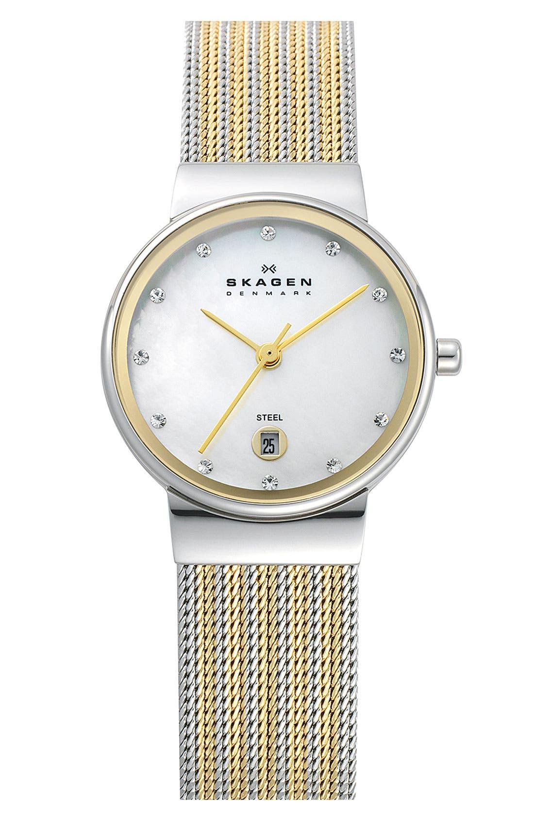 Skagen 'Ancher' Round Two-Tone Mesh Watch, 26mm x 32mm
