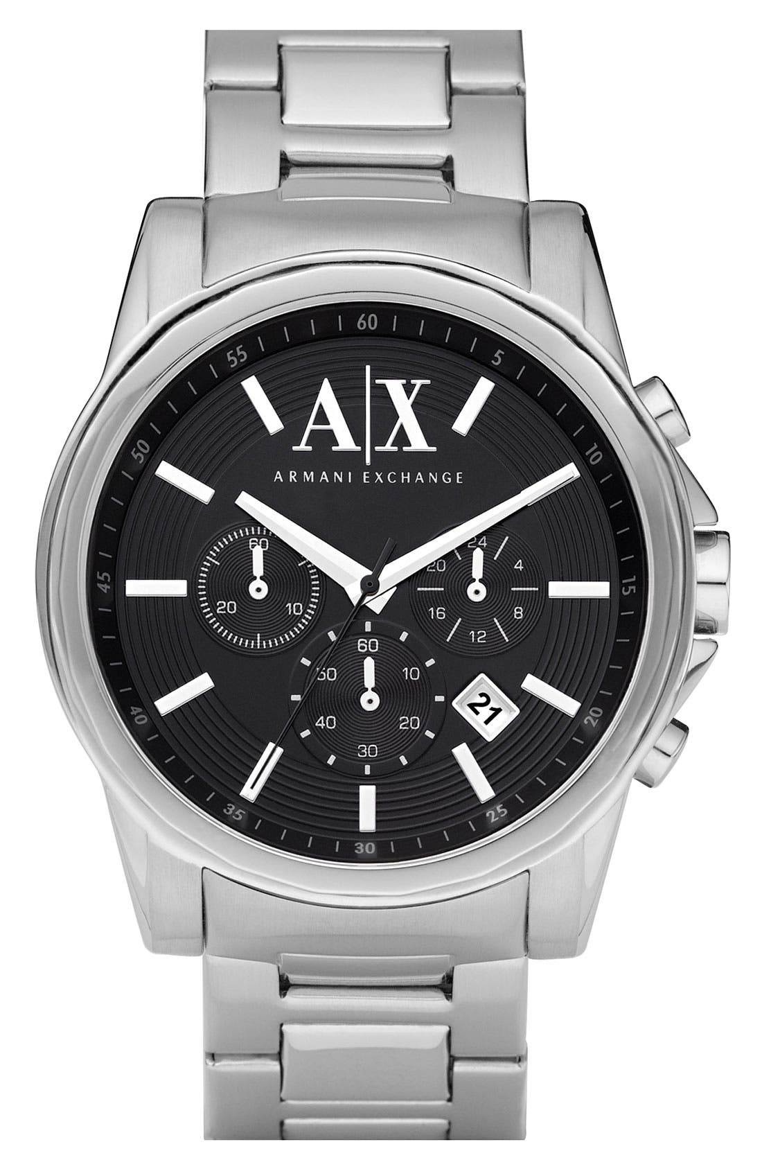 Main Image - AX Armani Exchange Chronograph Bracelet Watch, 45mm
