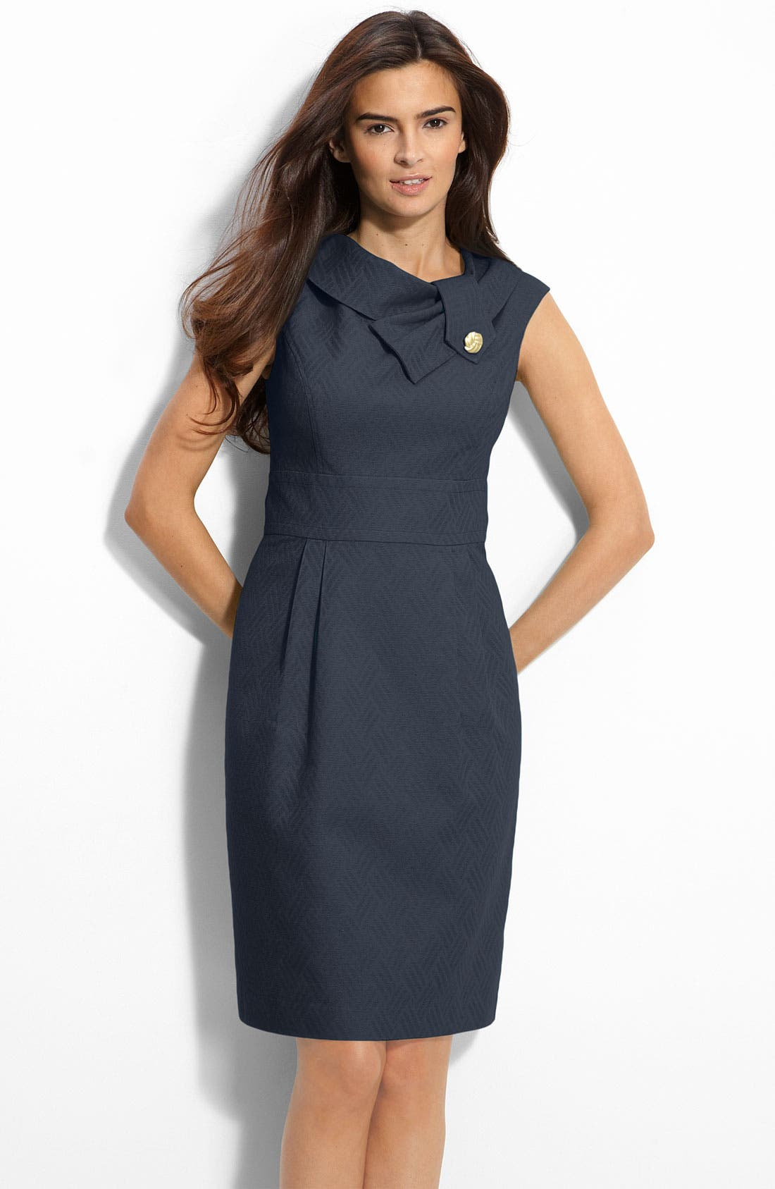 Main Image - Eliza J Folded Collar Jacquard Sheath Dress