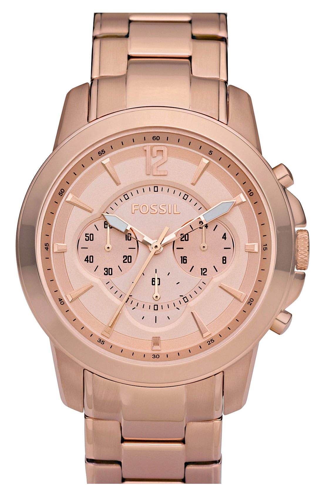 Main Image - Fossil Rose Gold Chronograph Bracelet Watch, 42mm