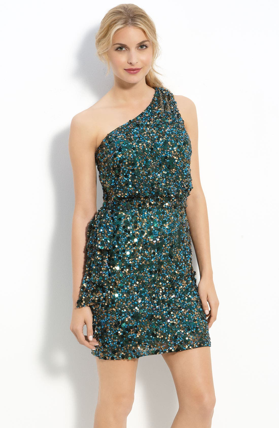 Main Image - Aidan Mattox Sequin One Shoulder Dress
