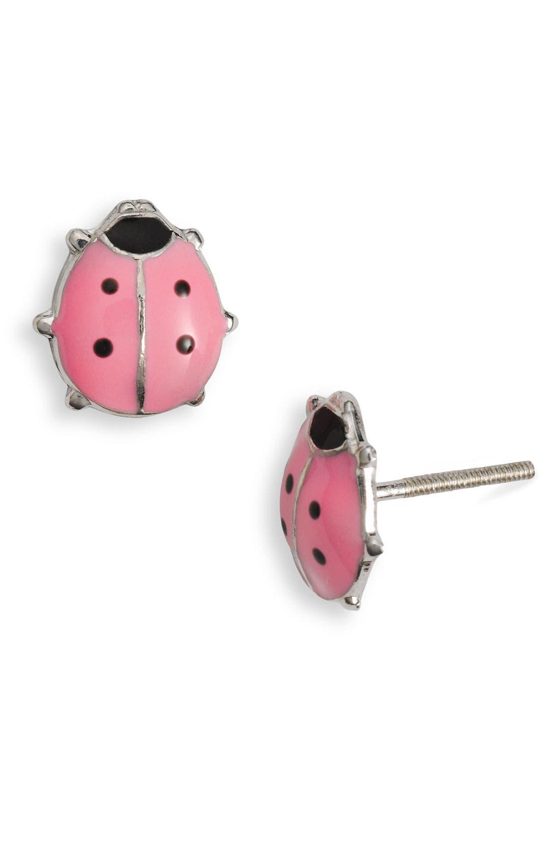 Alternate Image 1 Selected - Marathon Ladybug Stud Earrings (Infant)