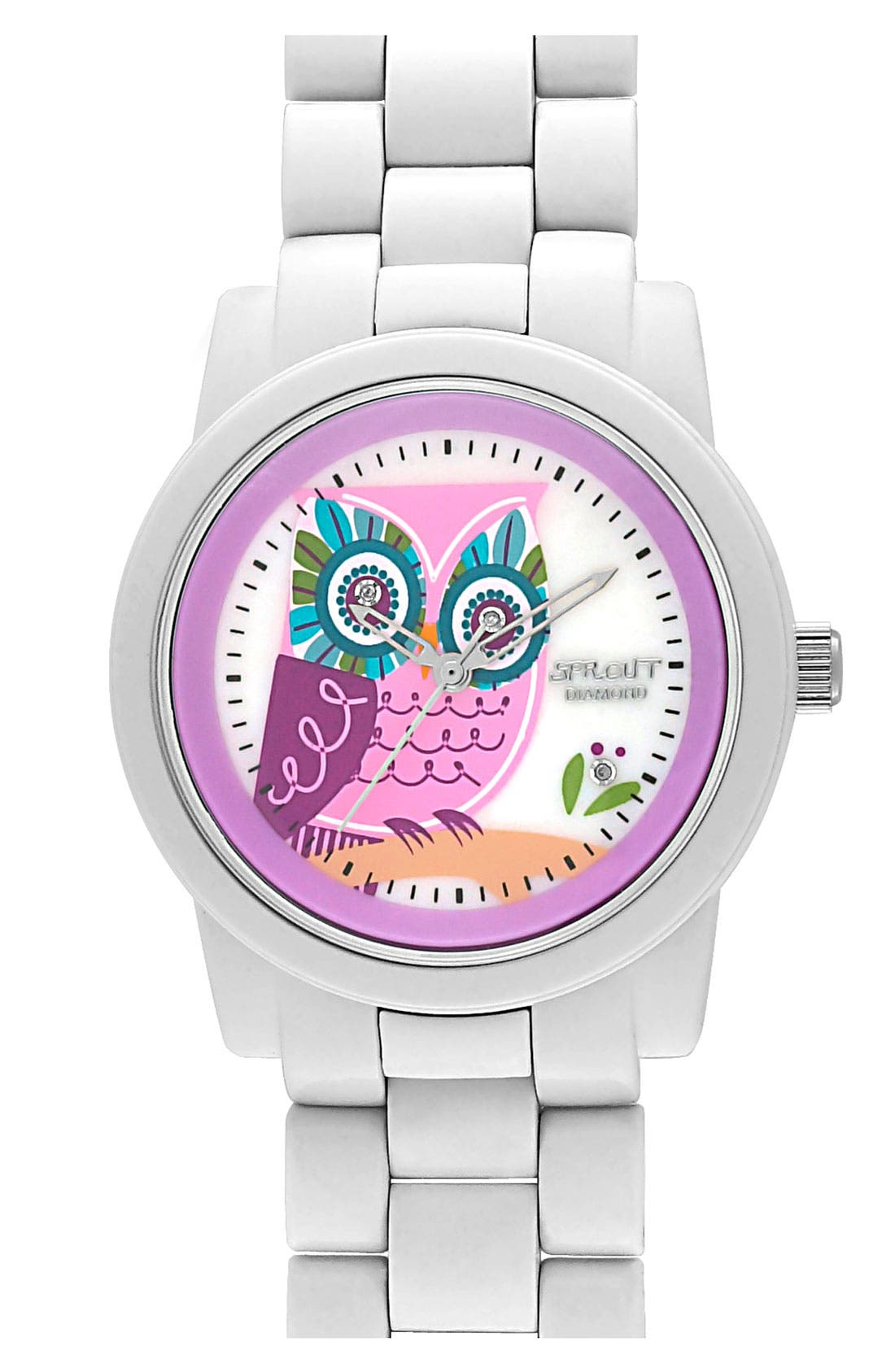 Main Image - SPROUT™ Watches Diamond Owl Watch, 37mm