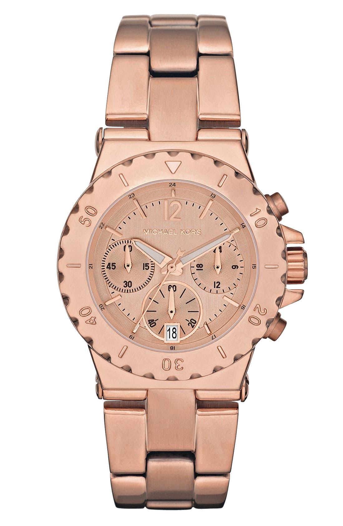 Main Image - Michael Kors Small Rose Gold Chronograph Watch