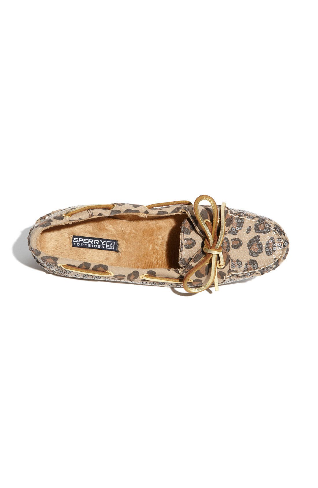 Top-Sider<sup>®</sup> 'Skiff' Moccasin Slip-On,                             Alternate thumbnail 3, color,                             Leopard Sequins