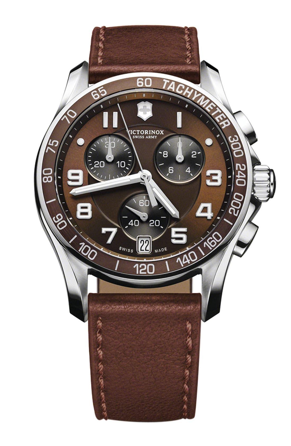 Main Image - Victorinox Swiss Army® 'Chrono Classic' Leather Strap Watch, 41mm