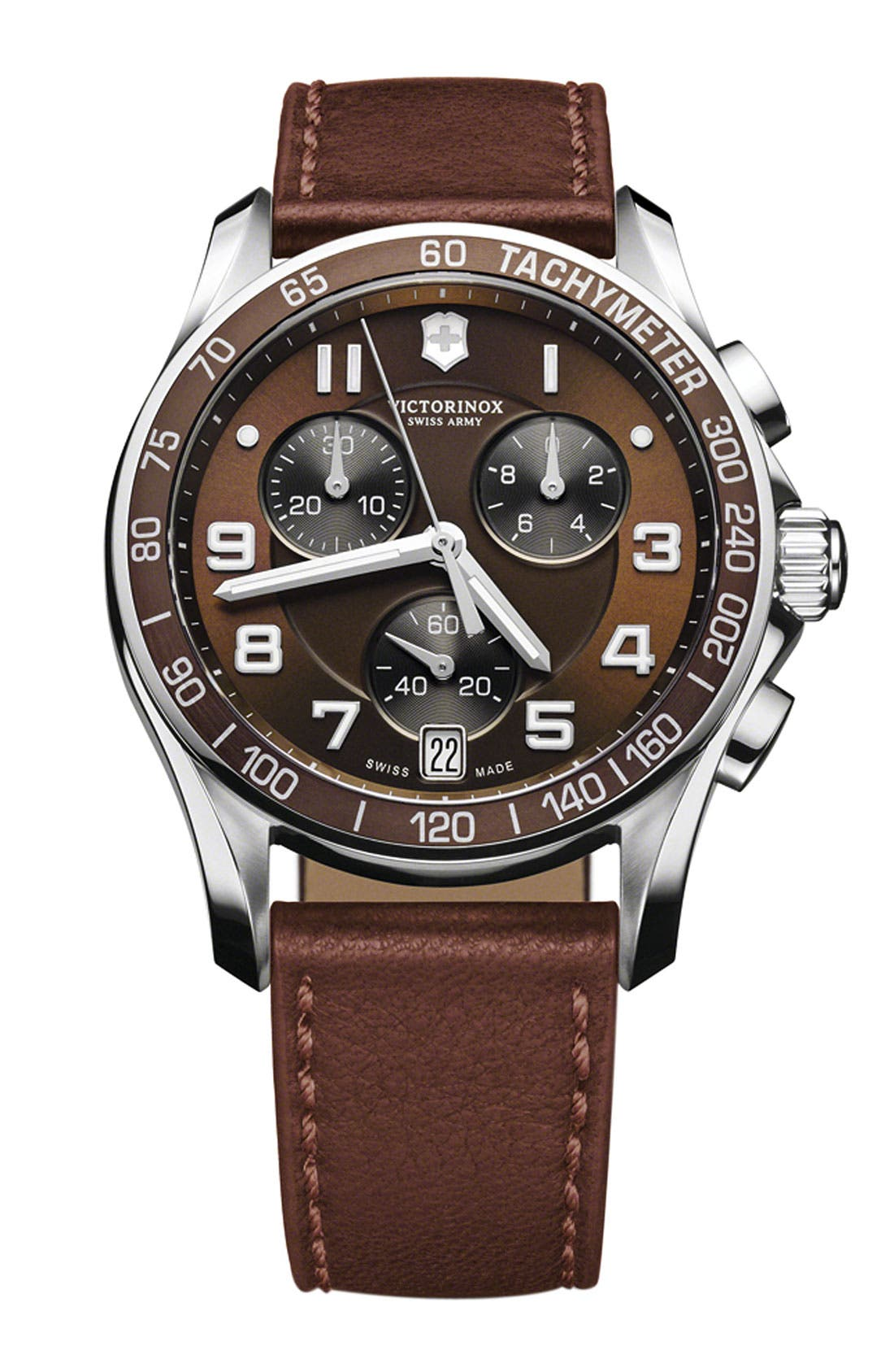 'Chrono Classic' Leather Strap Watch, 41mm,                         Main,                         color, Brown