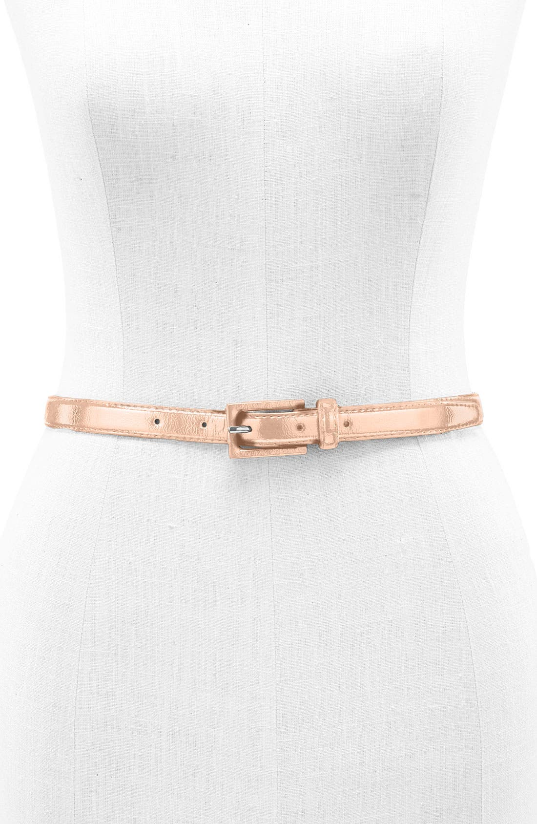 Alternate Image 1 Selected - Another Line Skinny Patent Belt with Covered Buckle (Plus)