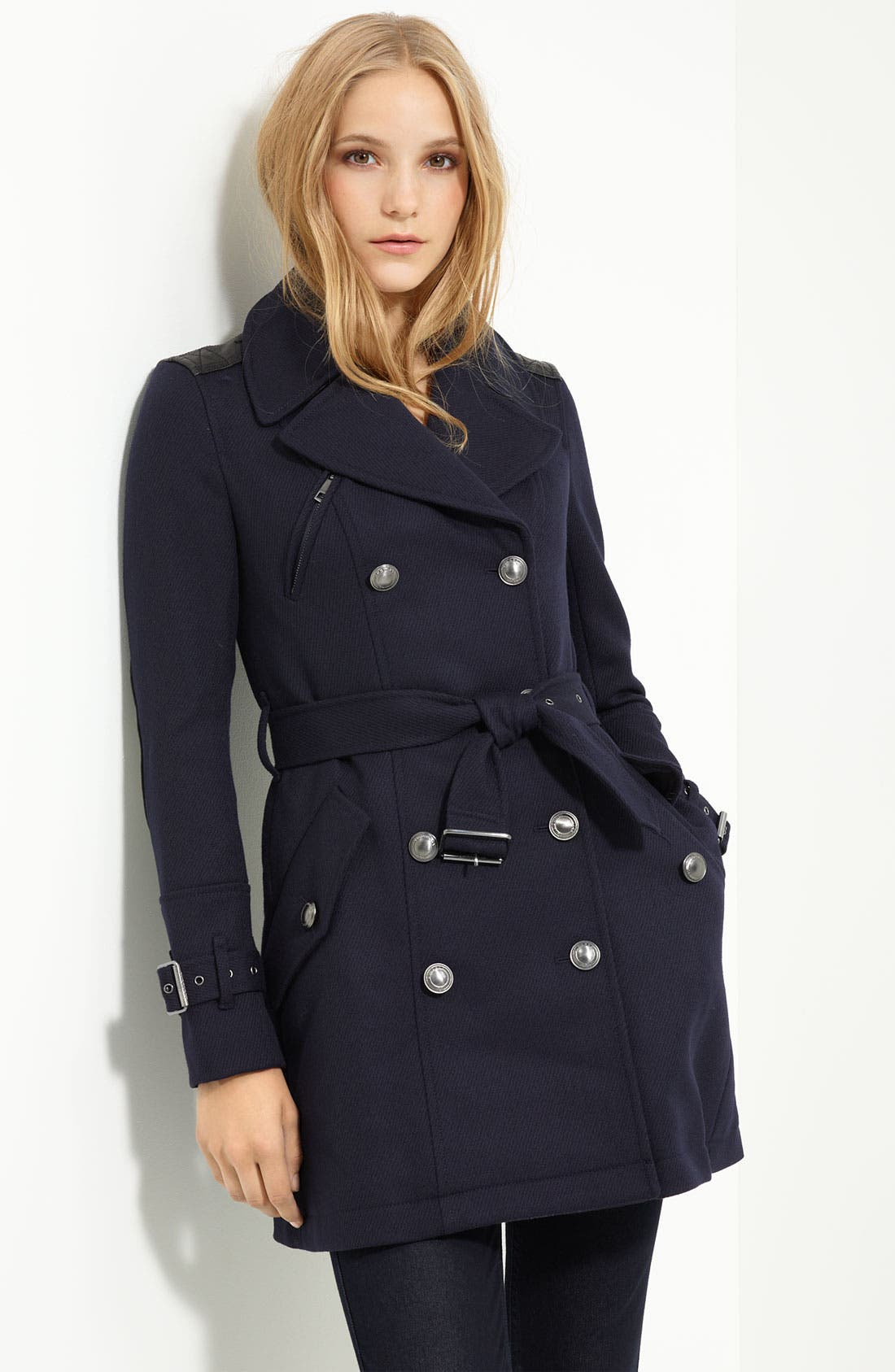 Main Image - Burberry Brit Leather Trim Trench