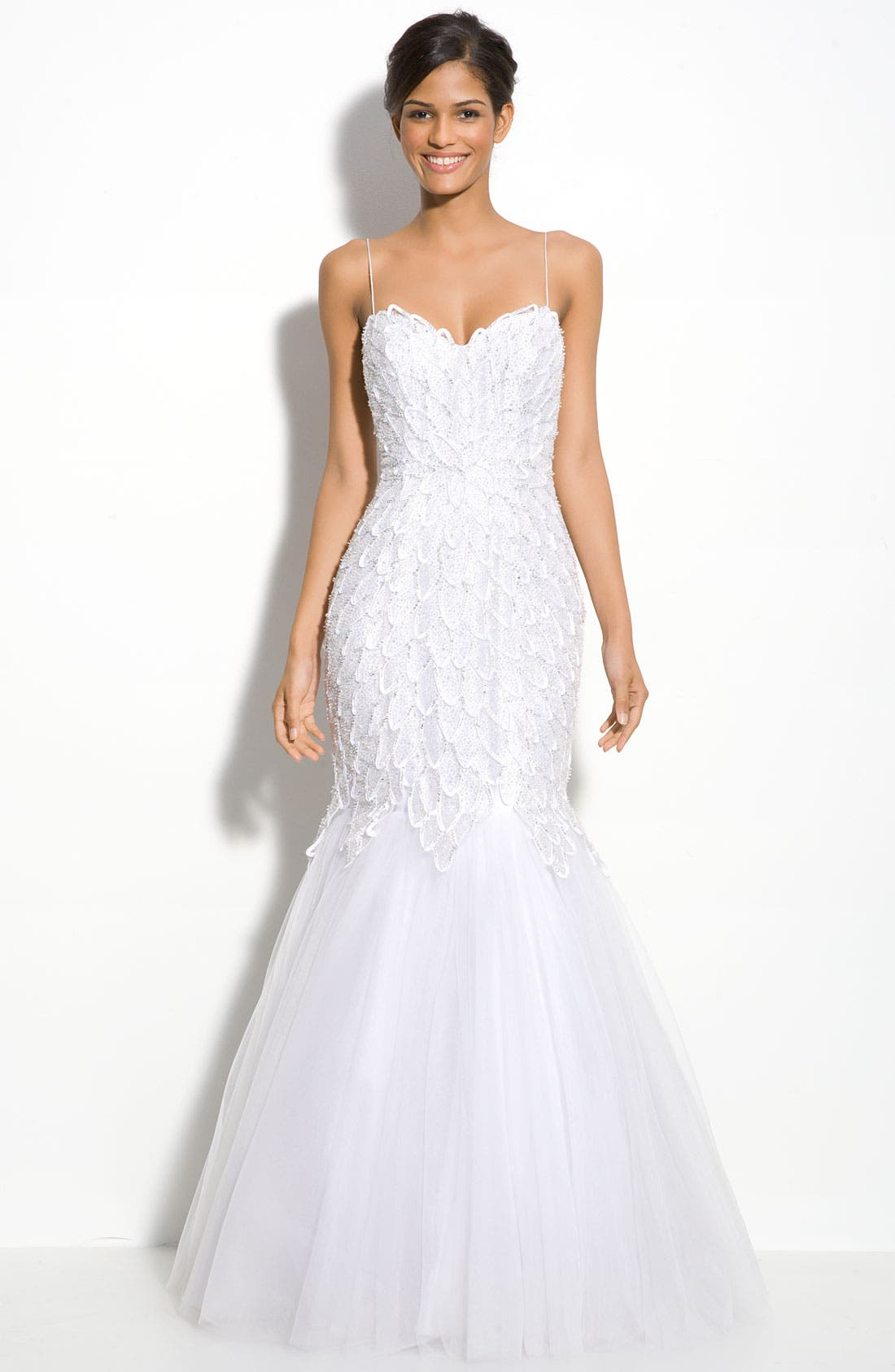 Beaded Spaghetti Strap Mermaid Gown,                         Main,                         color, White