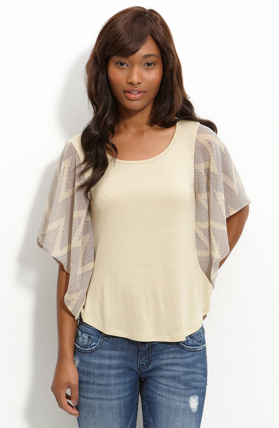 Alternate Image 1 Selected - h.i.p. Chiffon Sleeve Knit Top (Juniors)