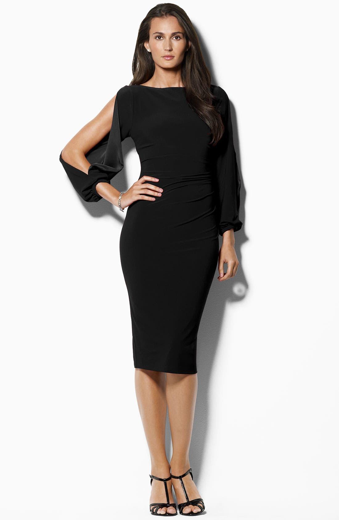 Main Image - Lauren Ralph Lauren Open Sleeve Jersey Sheath Dress