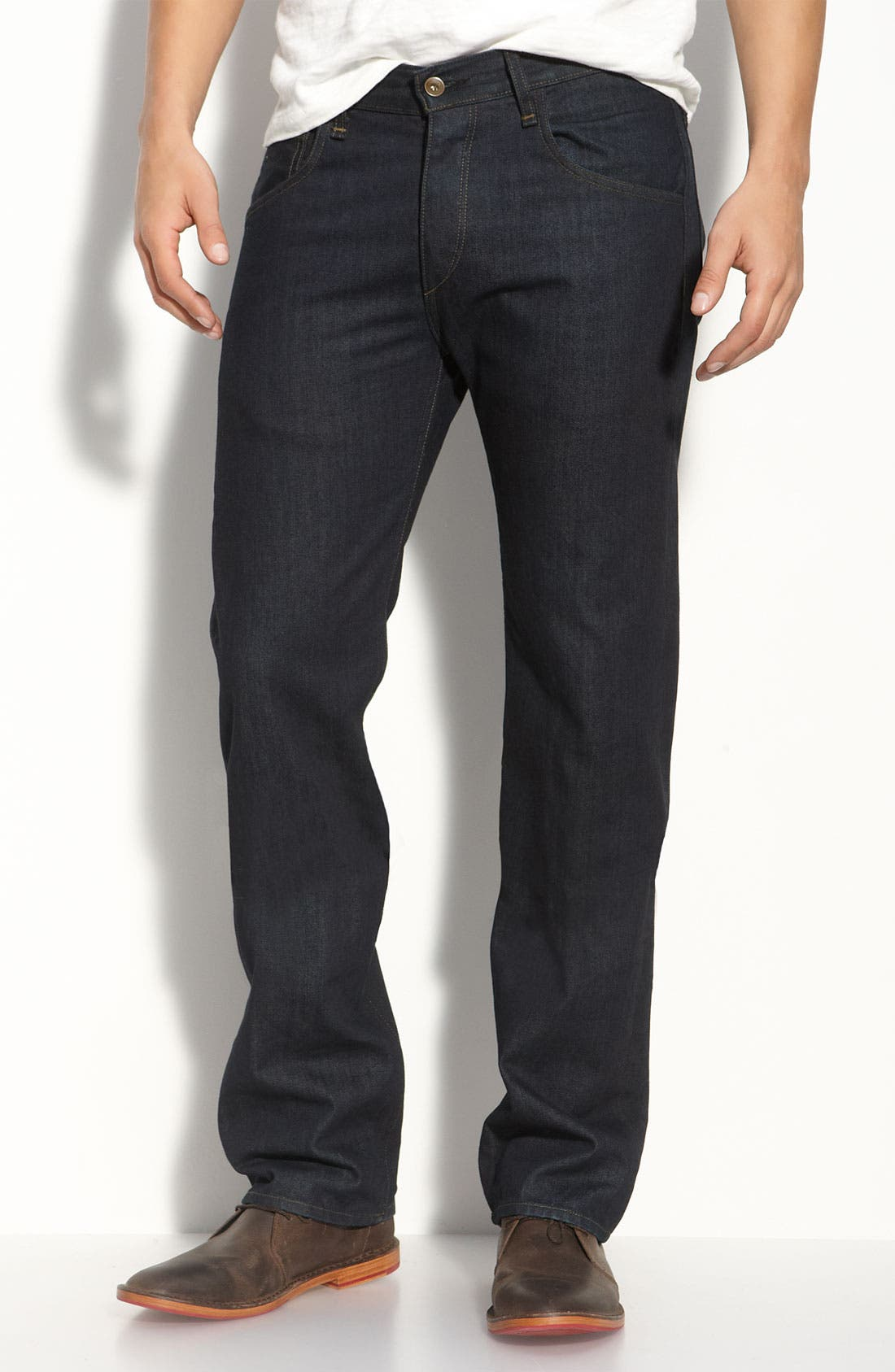 Alternate Image 2  - rag & bone Straight Leg Jeans (Blue Resin Wash)