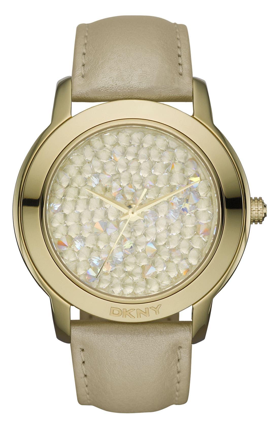 Main Image - DKNY 'Large Round Rocky' Metallic Strap Watch