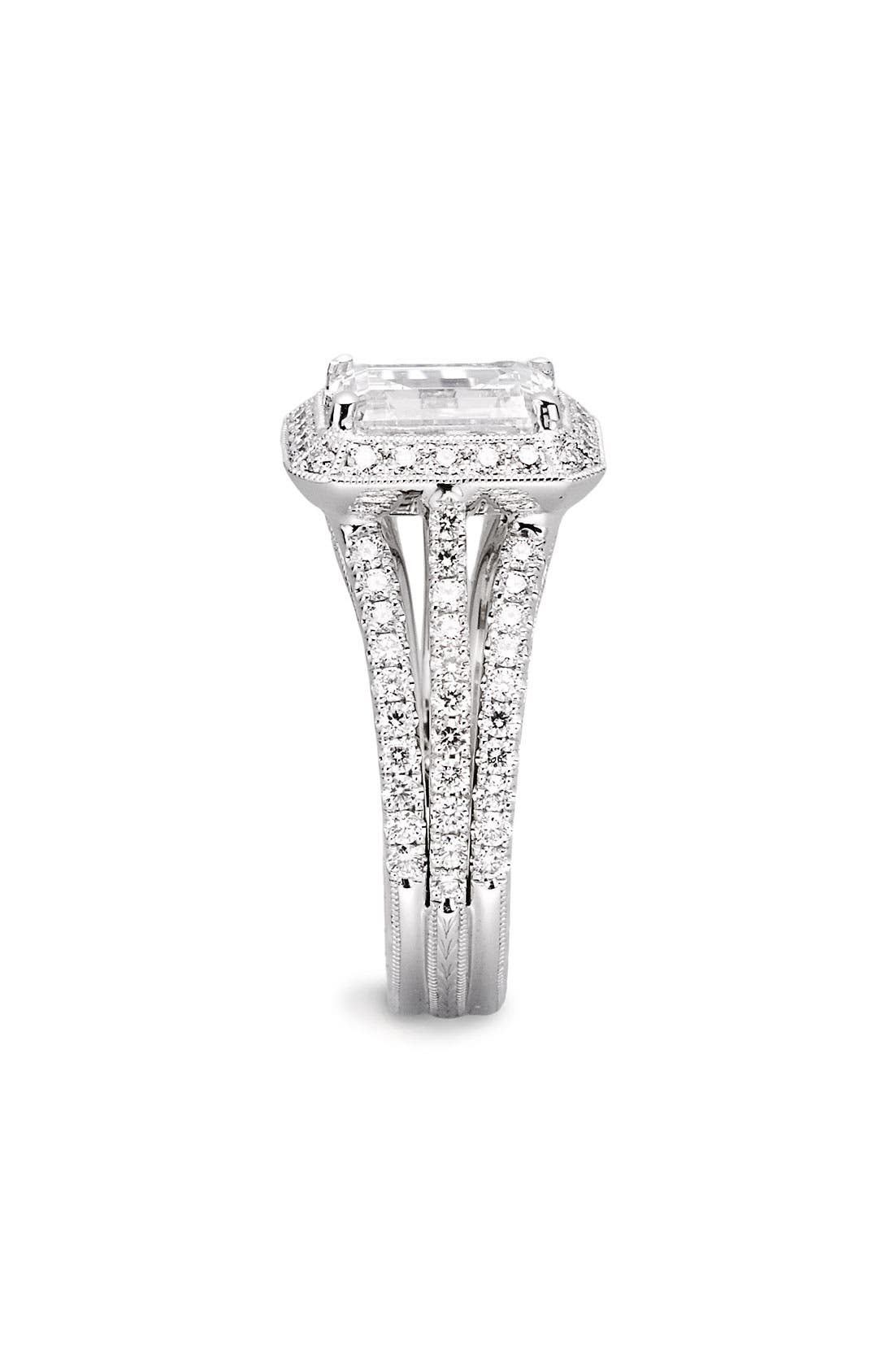 Alternate Image 2  - Jack Kelége 'Romance' Emerald Cut Diamond Engagement Ring Setting