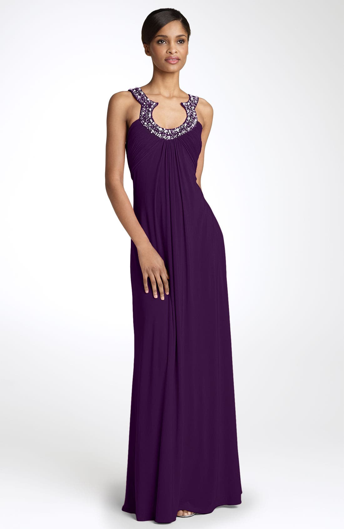 Alternate Image 1 Selected - JS Boutique Bead Neck Jersey Gown