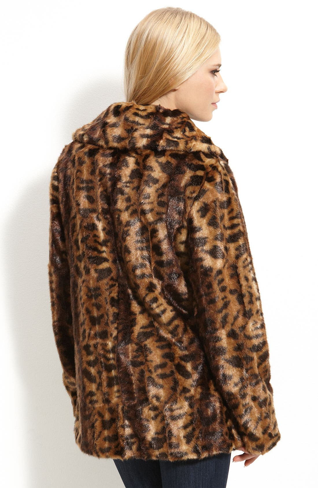 Faux Fur Jacket,                             Alternate thumbnail 2, color,                             Leopard