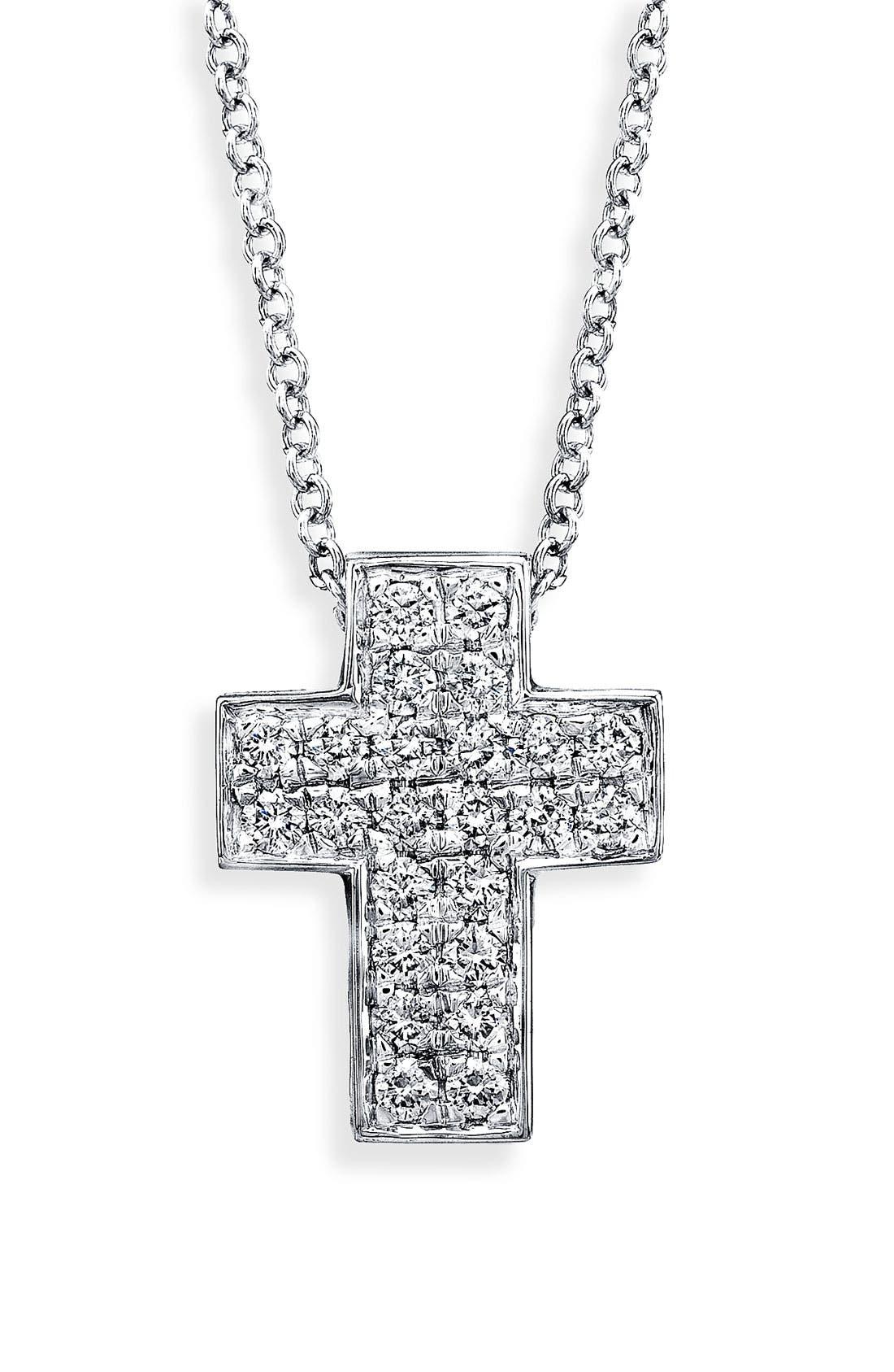 Main Image - Bony Levy Diamond Cross Necklace (Nordstrom Exclusive)