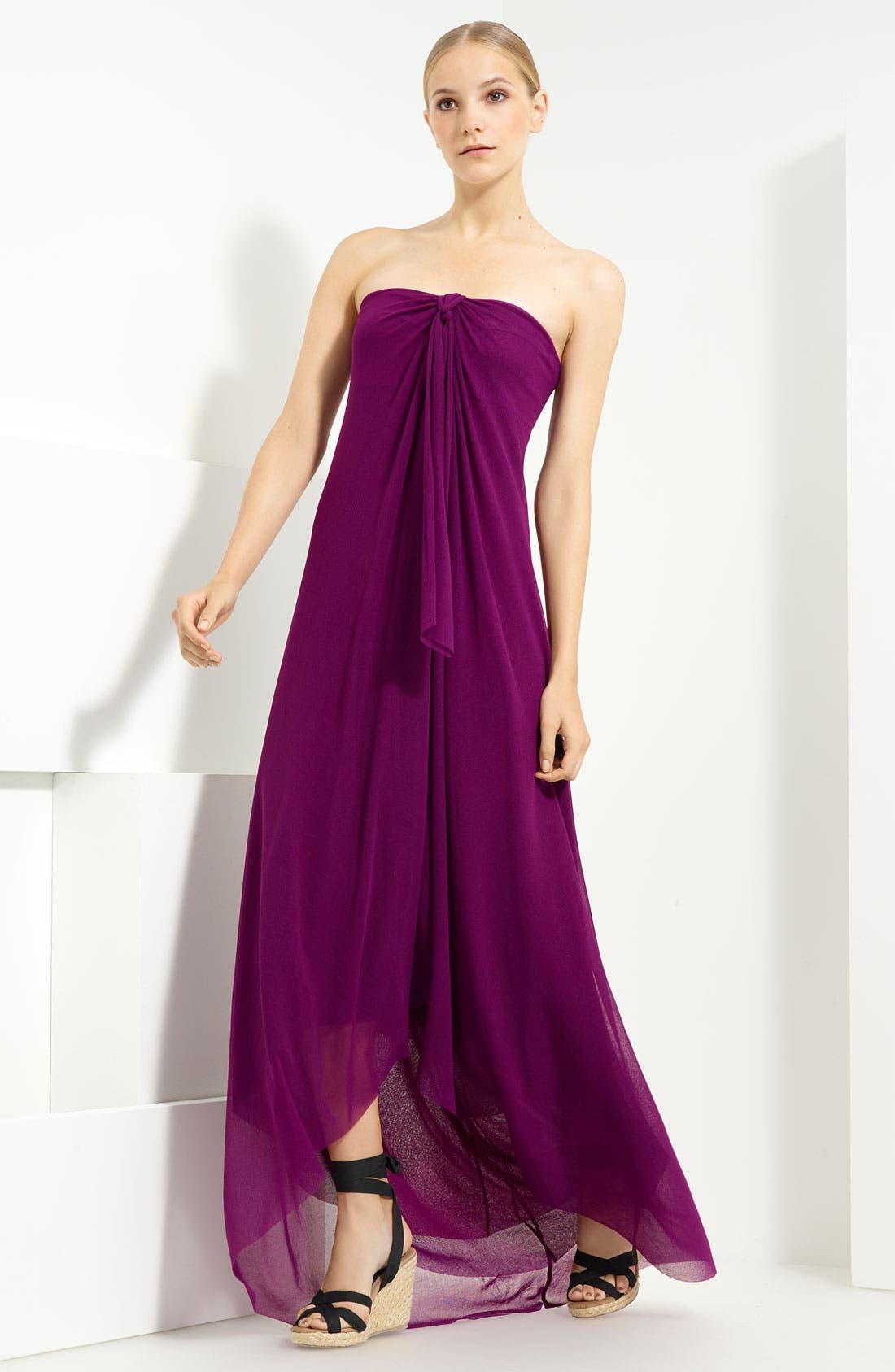 Jean Paul Gaultier Fuzzi Tulle Halter Maxi Dress,                         Main,                         color, Plum