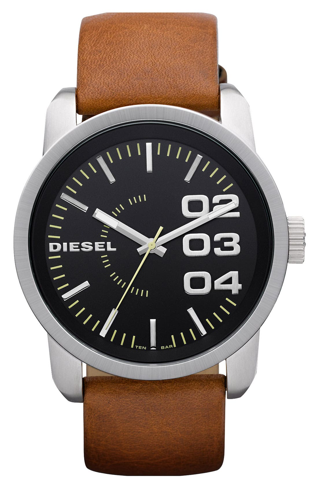 Main Image - DIESEL® 'Franchise' Leather Strap Watch, 46mm