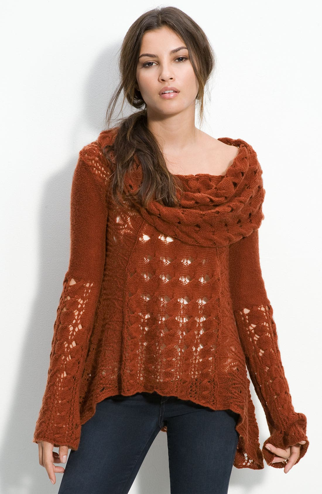 Main Image - Free People 'Snuggle Bear' Cabled Cowl Neck Pullover