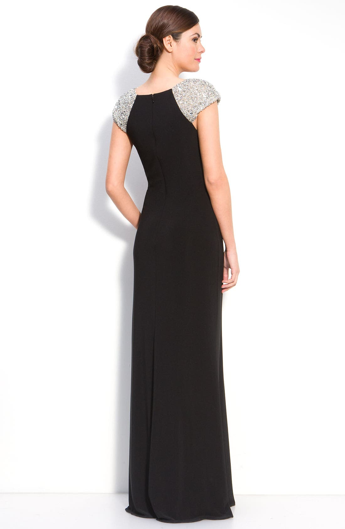 Alternate Image 2  - JS Boutique Beaded Sleeve Jersey Gown