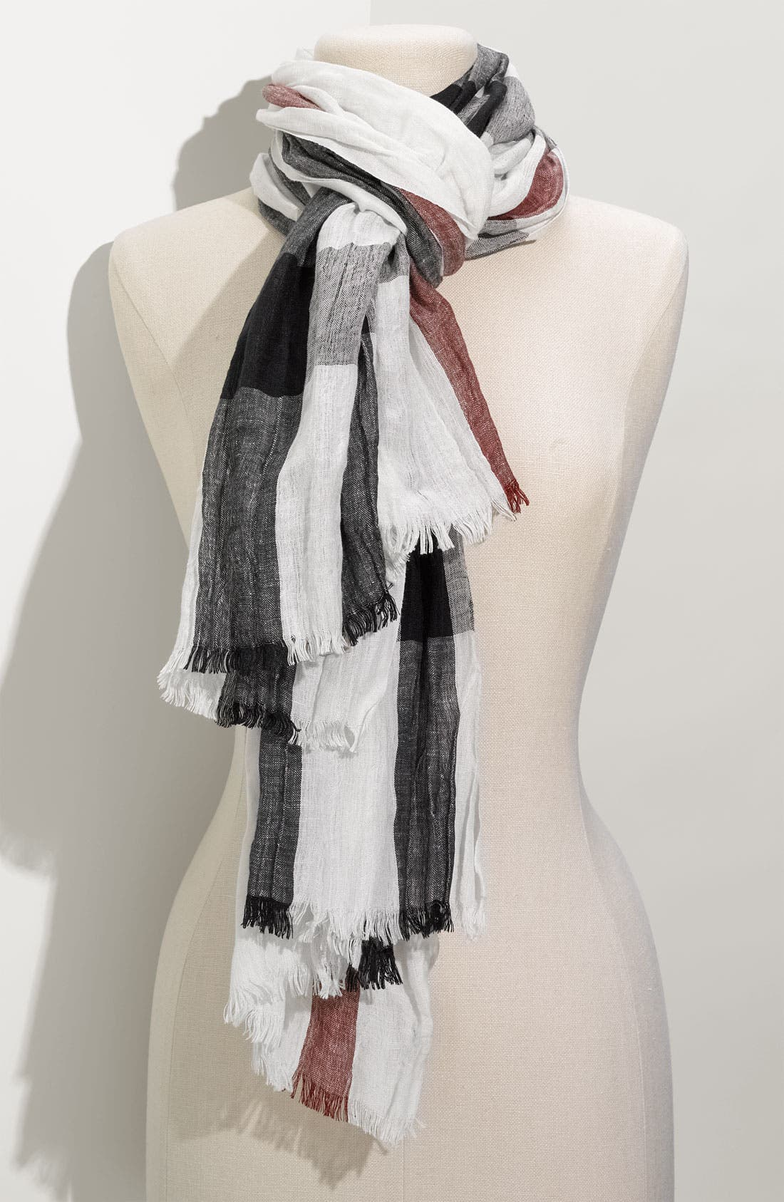 Alternate Image 1 Selected - Burberry Linen Blend Check Scarf