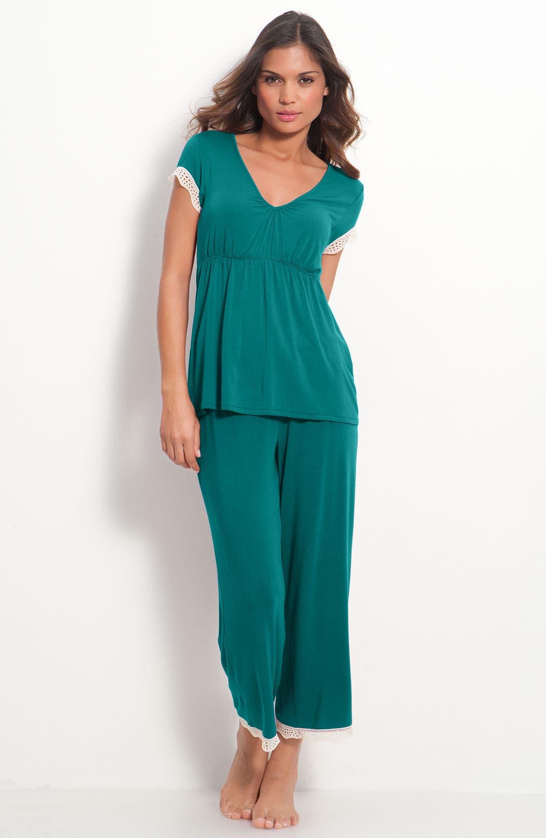 Alternate Image 1 Selected - Josie Crochet Trim Pajamas