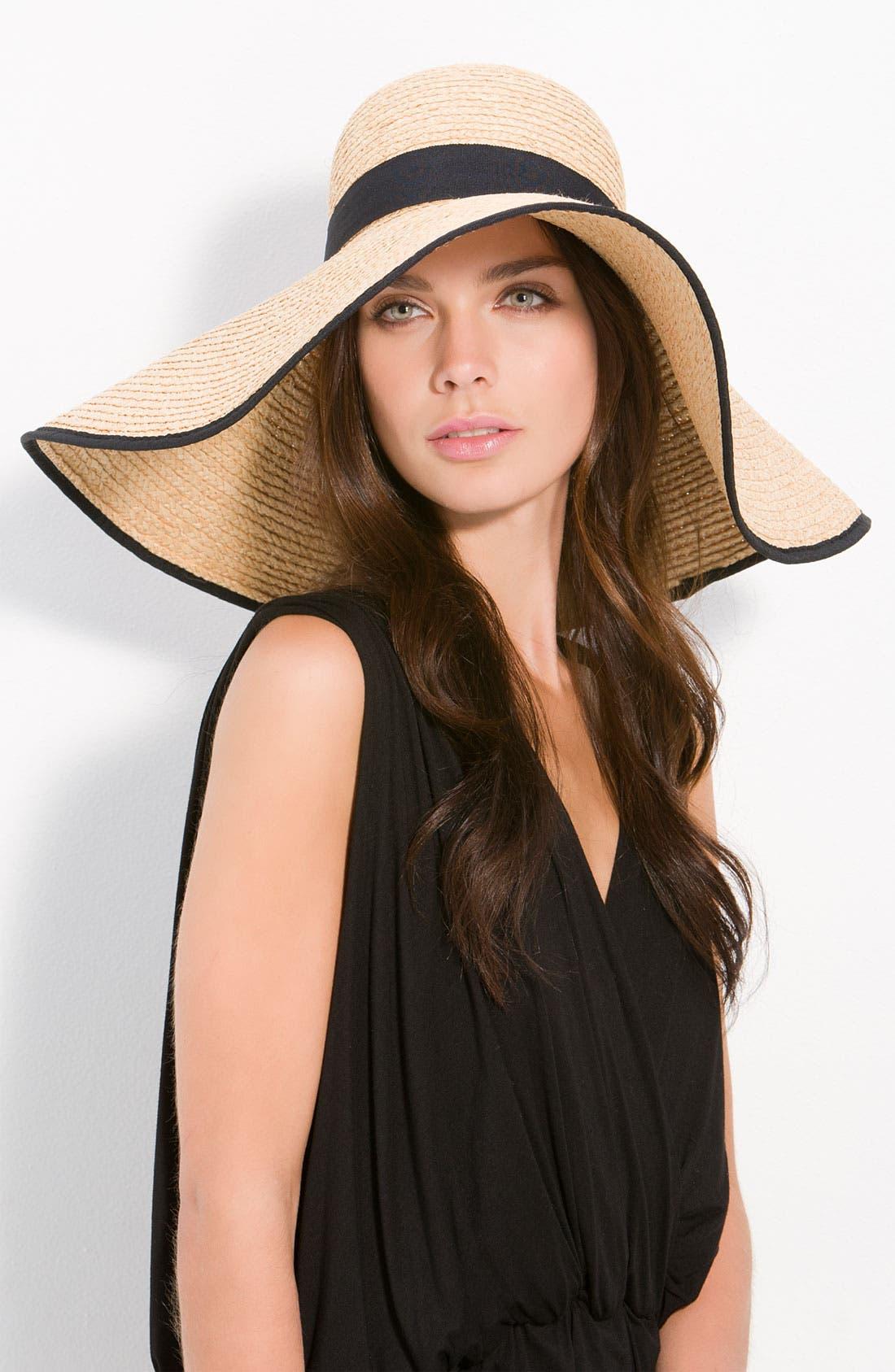Wide Brim Floppy Straw Hat,                         Main,                         color, Natural