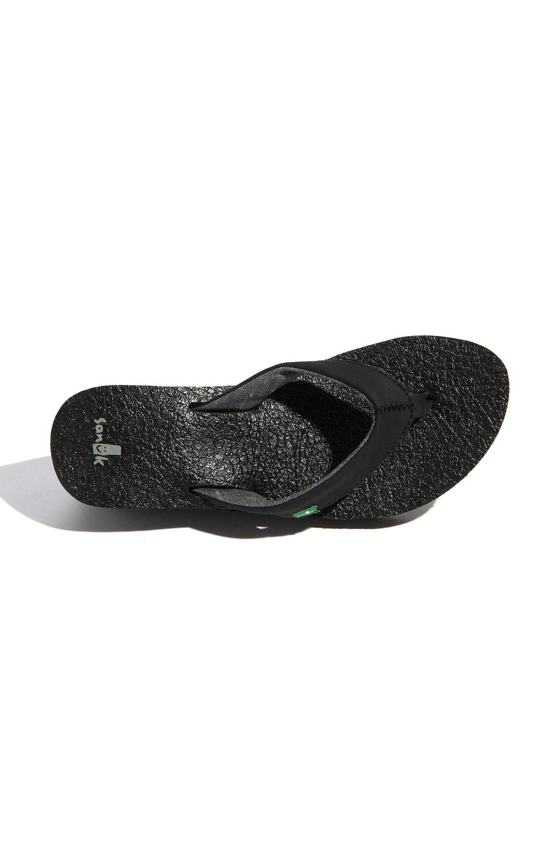 'Yoga Mat' Wedge Flip Flop,                             Alternate thumbnail 3, color,                             Black
