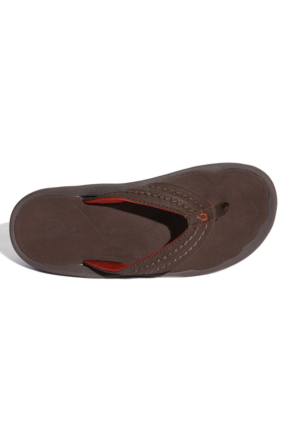 Hokua Flip Flop,                             Alternate thumbnail 3, color,                             Dark Java Faux Leather