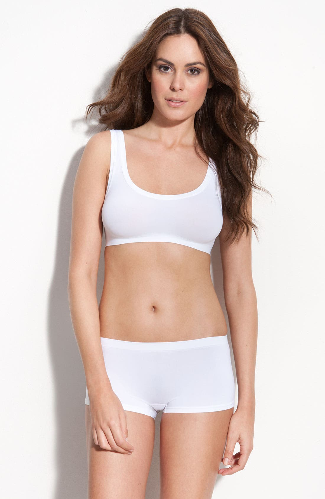 'Touch Feeling' Crop Top,                             Alternate thumbnail 3, color,                             White