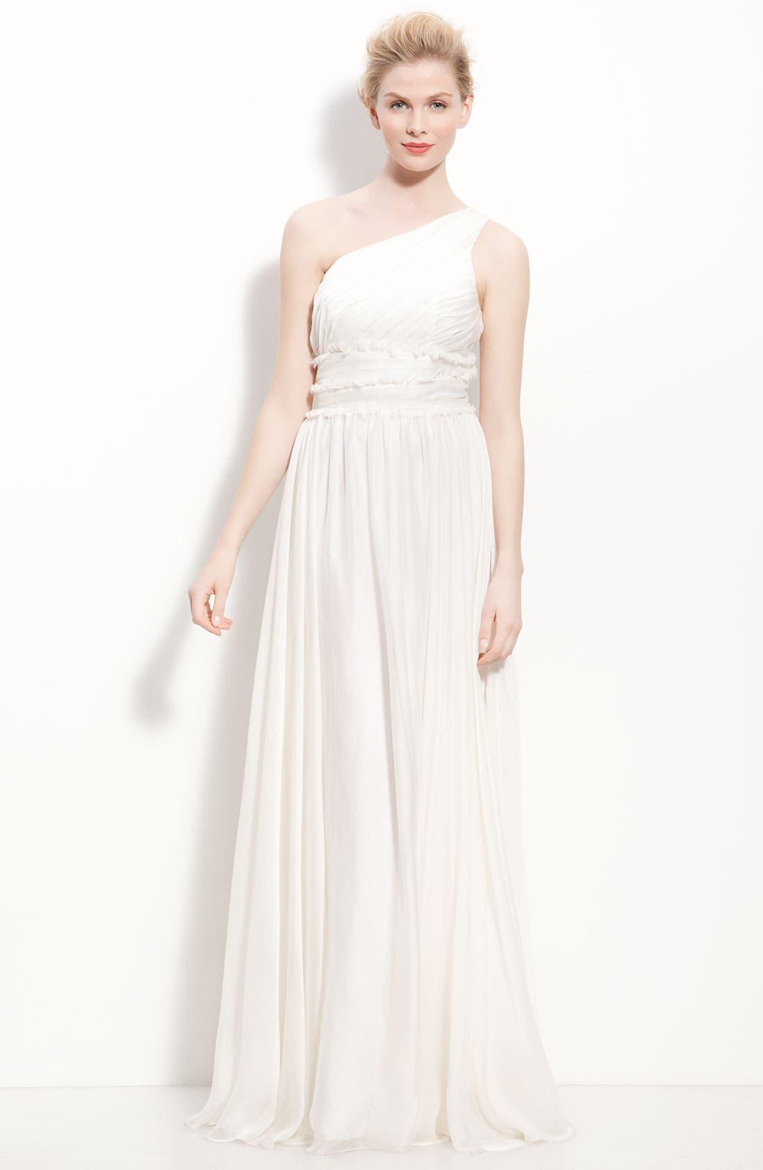 Main Image - ML Monique Lhuillier Bridesmaids One-Shoulder Chiffon Gown (Nordstrom Exclusive)
