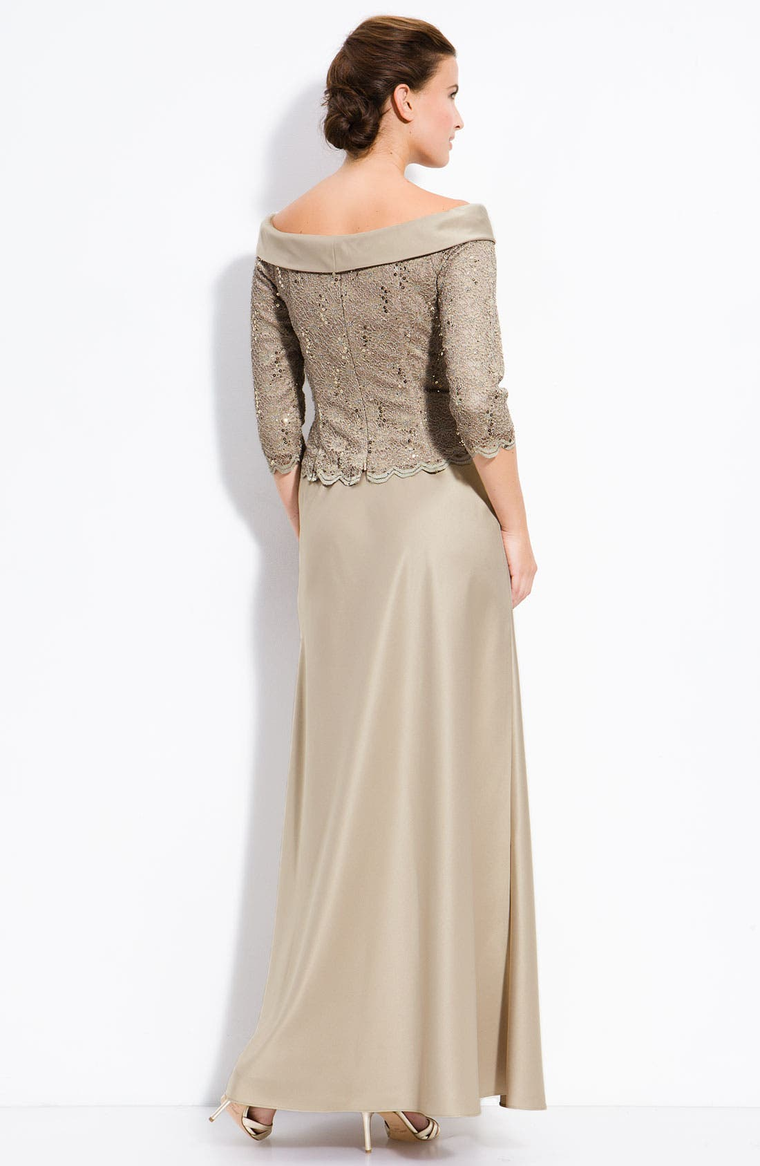 Alternate Image 2  - Alex Evenings Off the Shoulder Lace Top with Satin Skirt