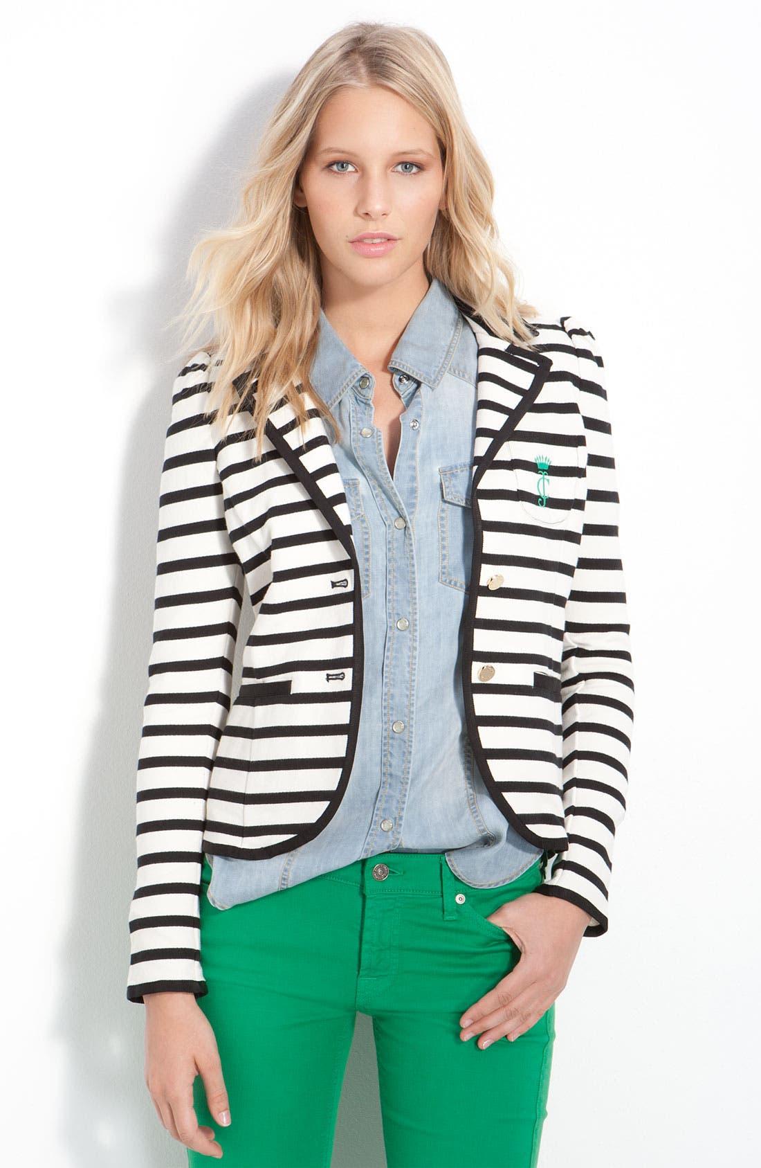Alternate Image 1 Selected - Juicy Couture Stripe Monogram Blazer