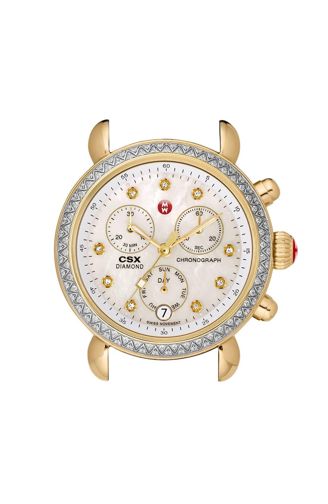 Main Image - MICHELE 'CSX-36 Diamond' Diamond Dial Two Tone Watch Case, 36mm