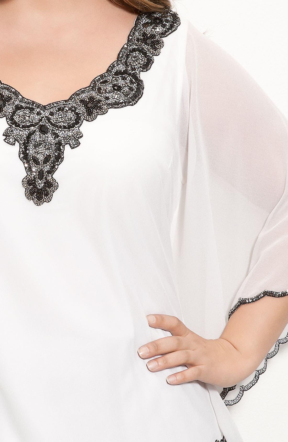 Alternate Image 3  - J Kara Beaded Sheer Sleeve Top (Plus)