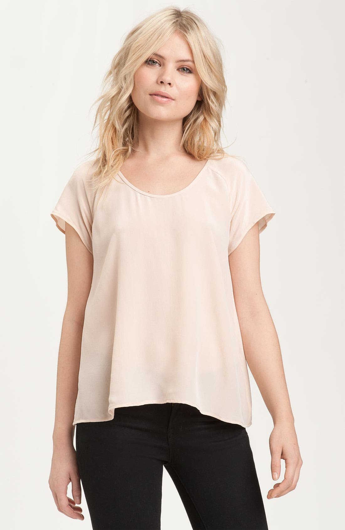 'Bellona' Slouchy Silk Tee,                         Main,                         color, Dusty Pink Sand
