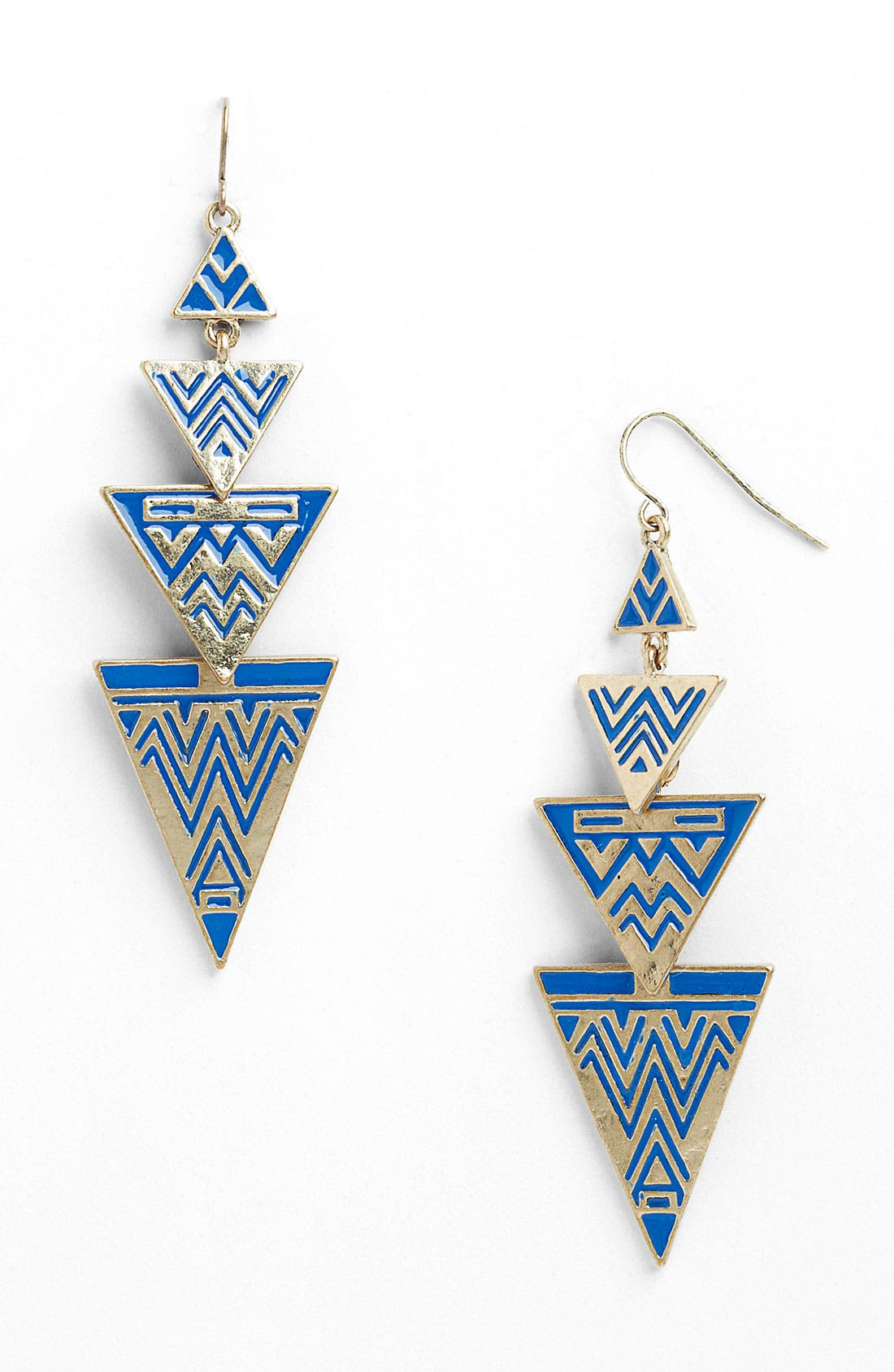 Alternate Image 1 Selected - Stephan & Co. Enameled Triangle Chandelier Earrings