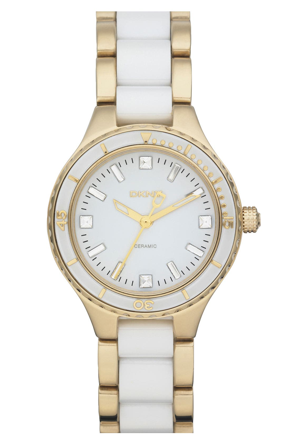 Main Image - DKNY Ceramic Link Bracelet Watch, 32mm