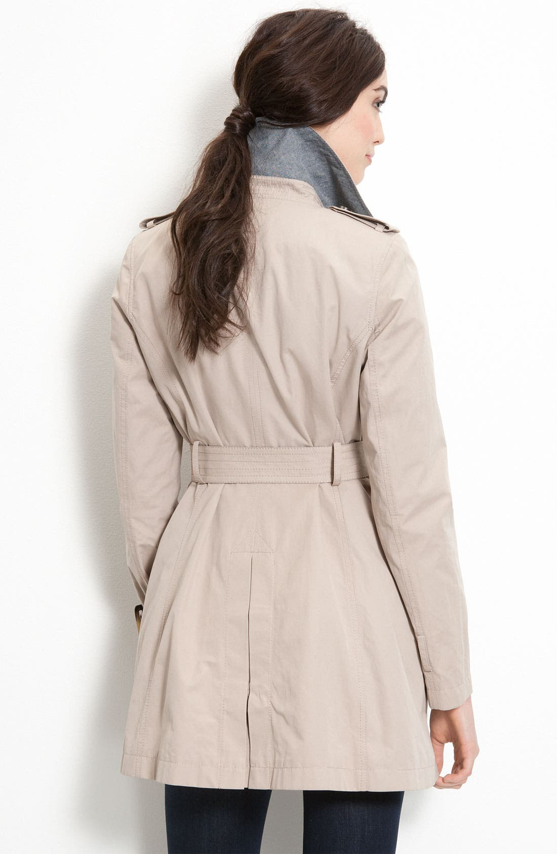 Trench Coat with Chambray Trim,                             Alternate thumbnail 2, color,                             Khaki