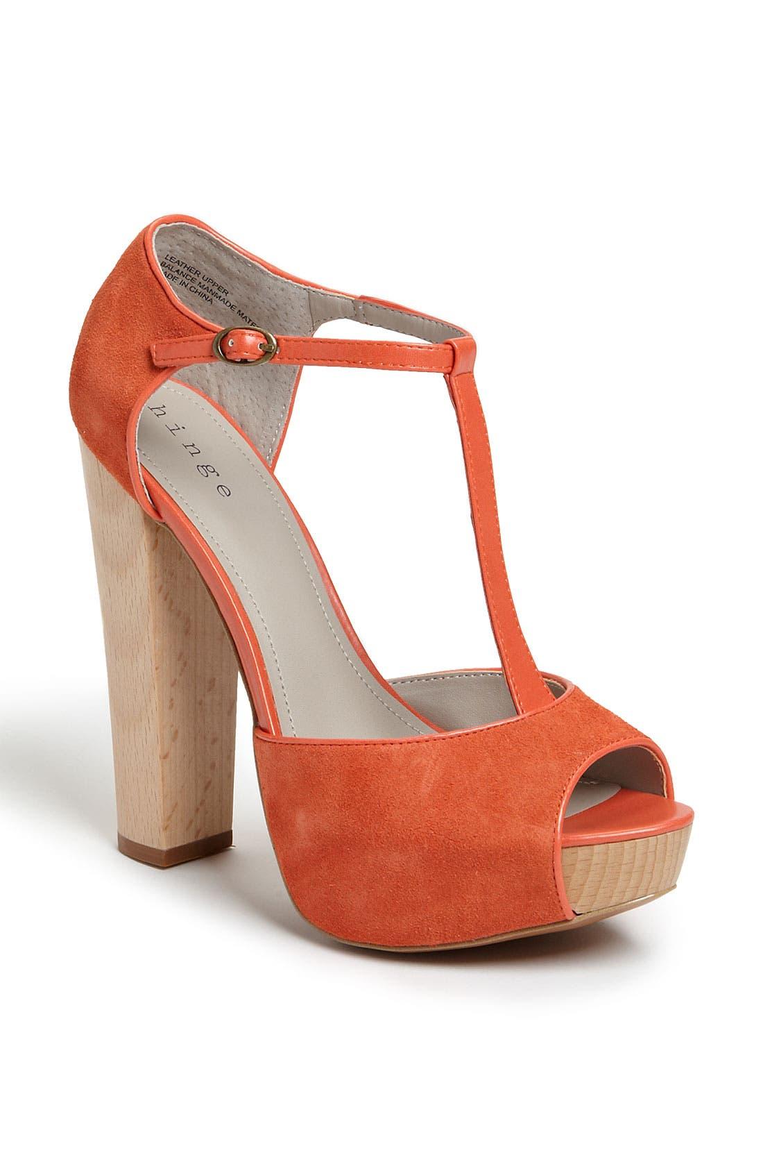 'Asher' T-Strap Sandal,                             Main thumbnail 1, color,                             Tangerine