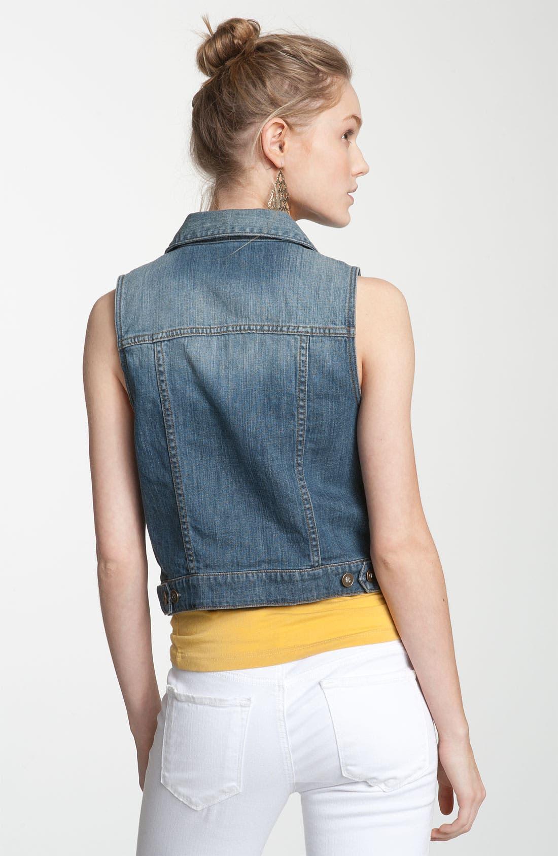 Alternate Image 2  - BP. Sleeveless Denim Vest (Juniors)
