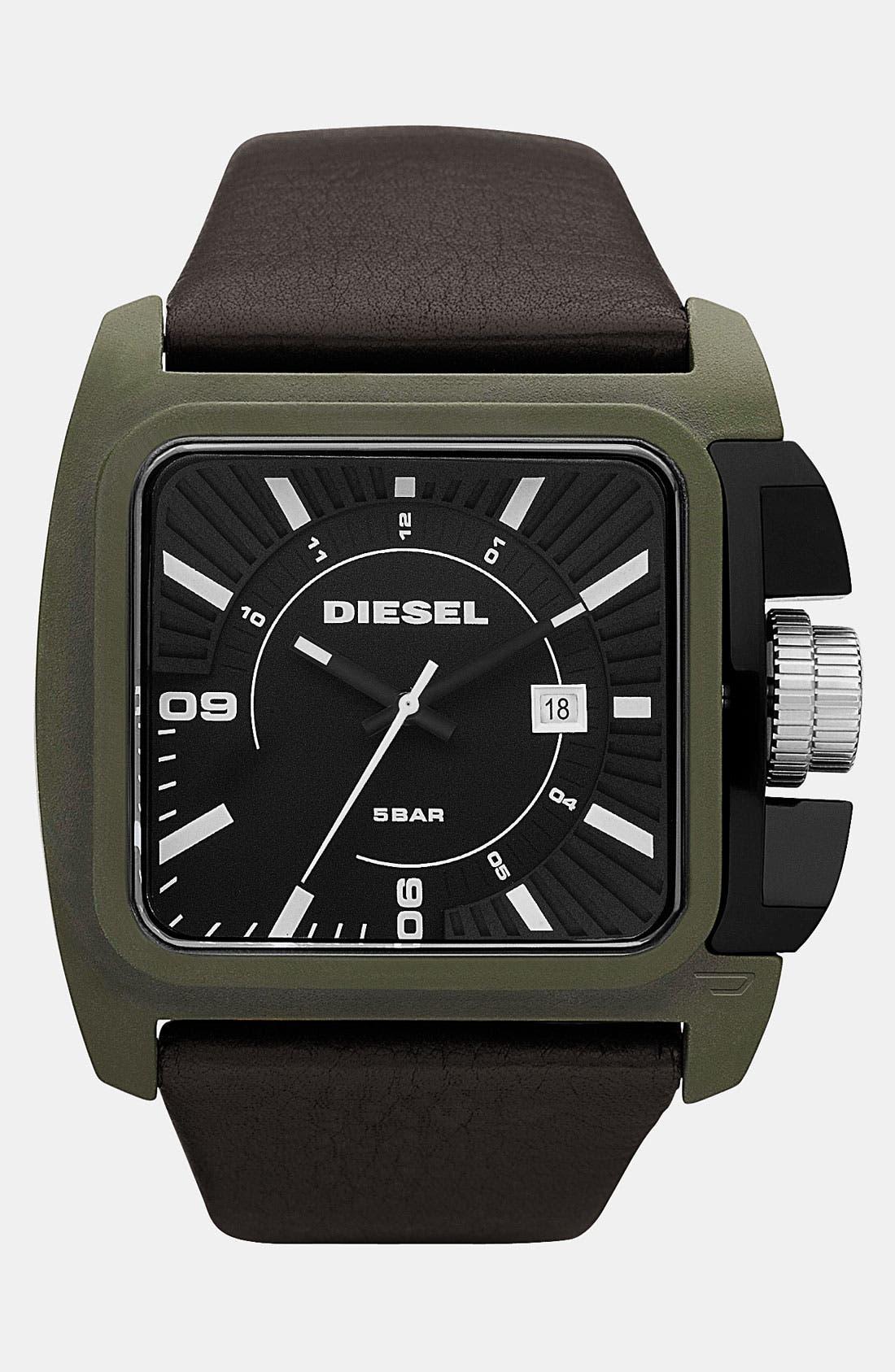 Main Image - DIESEL® Large Rectangular Leather Strap Watch