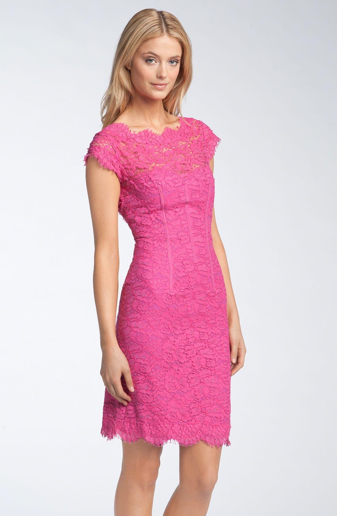 Main Image - ML Monique Lhuillier Lace Overlay Sheath Dress