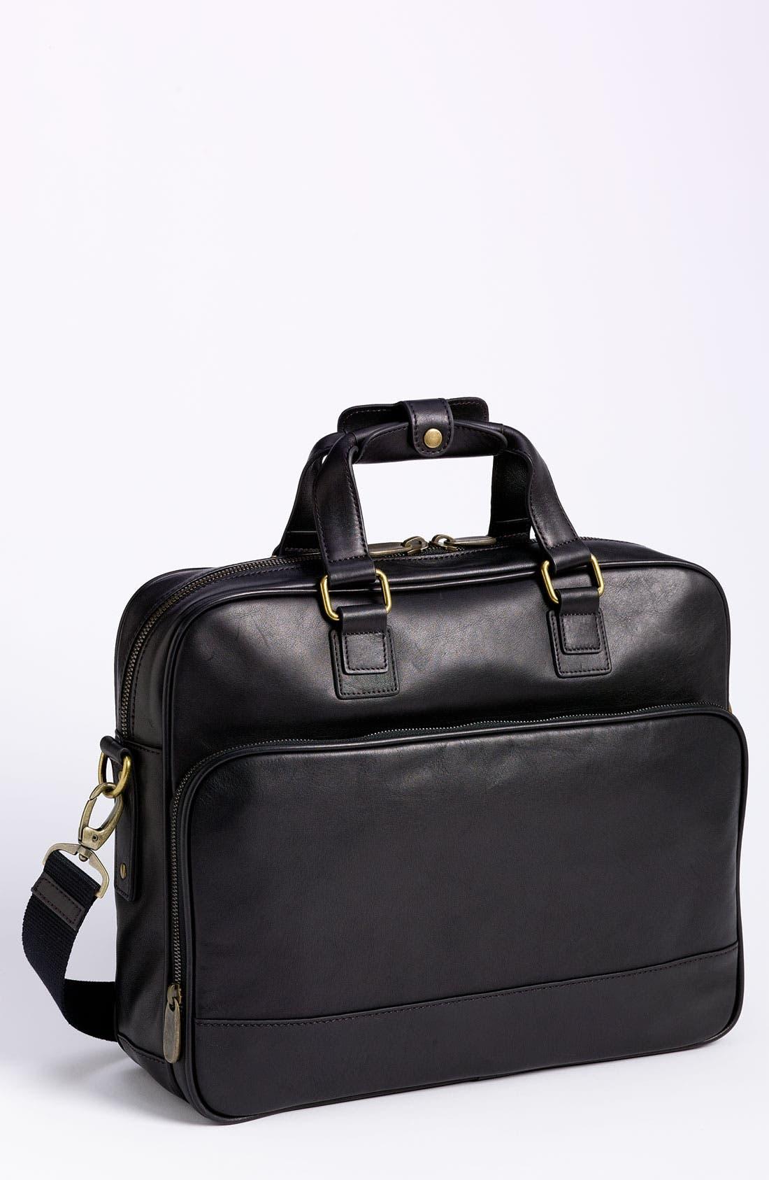 Top Zip Leather Briefcase,                             Main thumbnail 1, color,                             Black