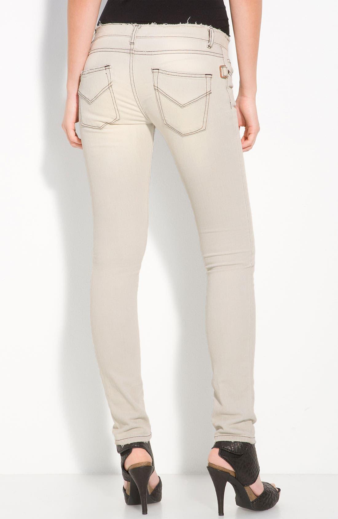 'Darkside' Bleached Skinny Jeans,                         Main,                         color, Blanc