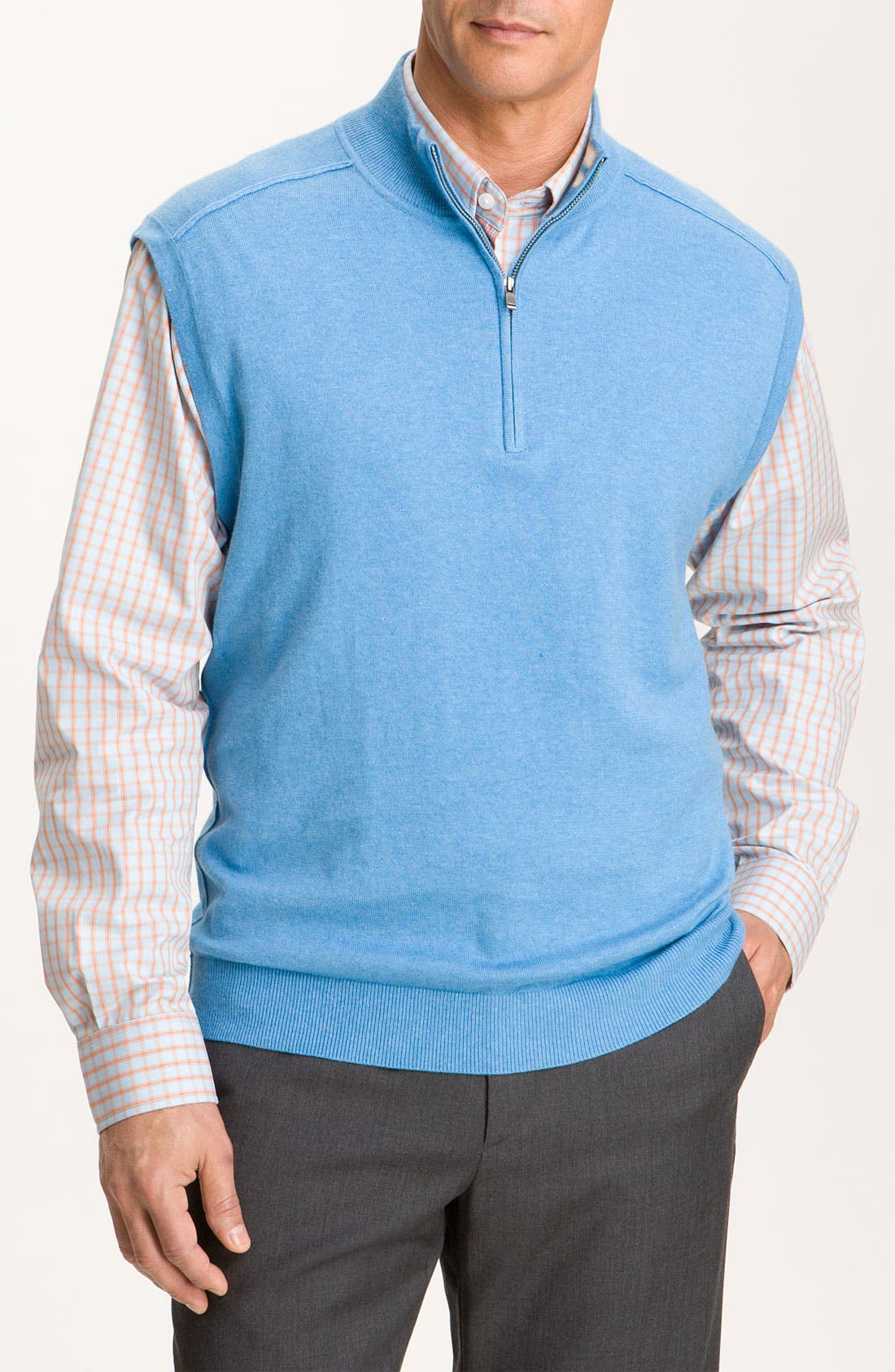 Alternate Image 1 Selected - Cutter & Buck 'Thomas' Half Zip Vest (Big & Tall) (Online Exclusive)