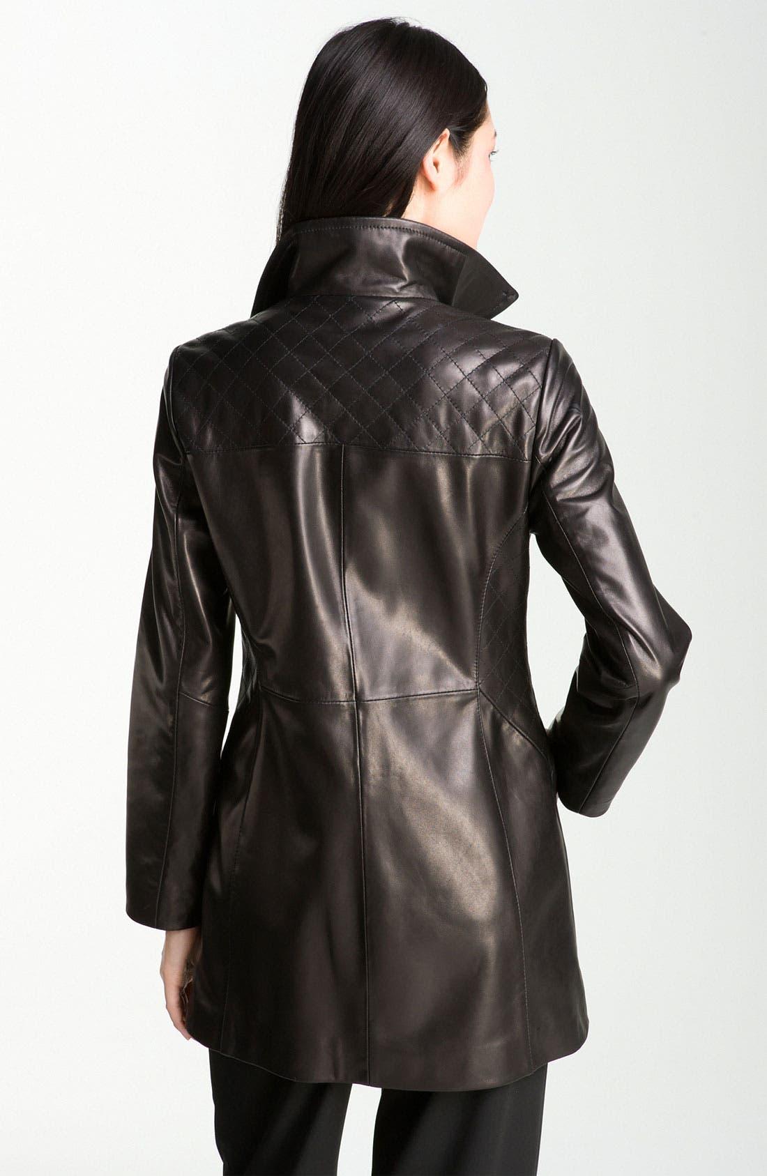 Alternate Image 2  - Ellen Tracy Quilt Trim Lambskin Leather Topper (Nordstrom Exclusive)