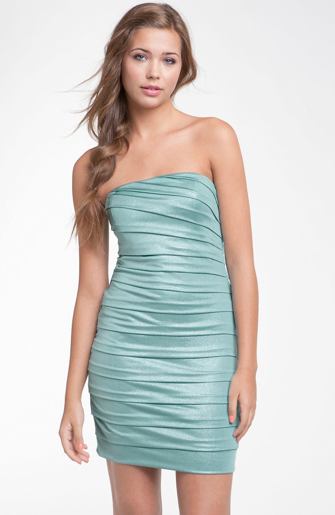 Alternate Image 1 Selected - Speechless Pleated Strapless Dress (Juniors)